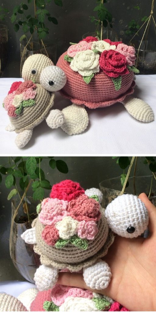 Turtle Carrying Flowers Crochet Pattern