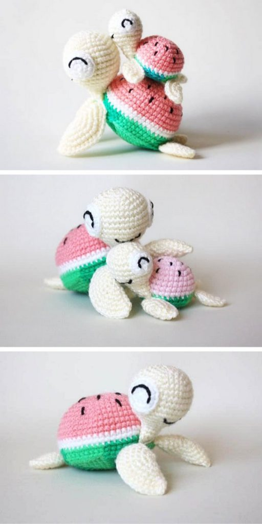 Watermelon Turtles Amigurumi Free Crochet Pattern