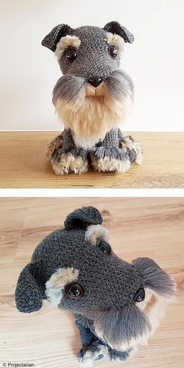 Schnauzer Dog with DIY fur free crochet pattern