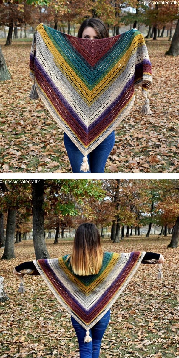 Women in the park with triangle crochet shawl