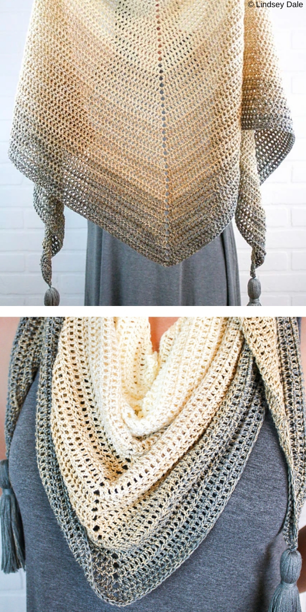 Light and bright crochet shawl with holes