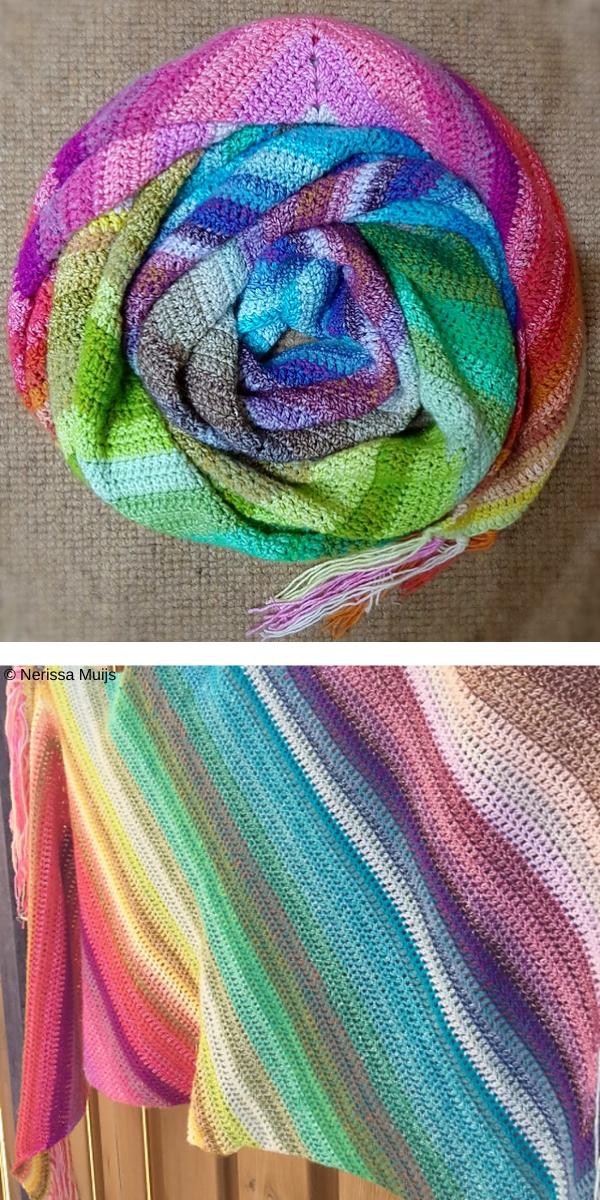 Rainbow colorful crochet shawl