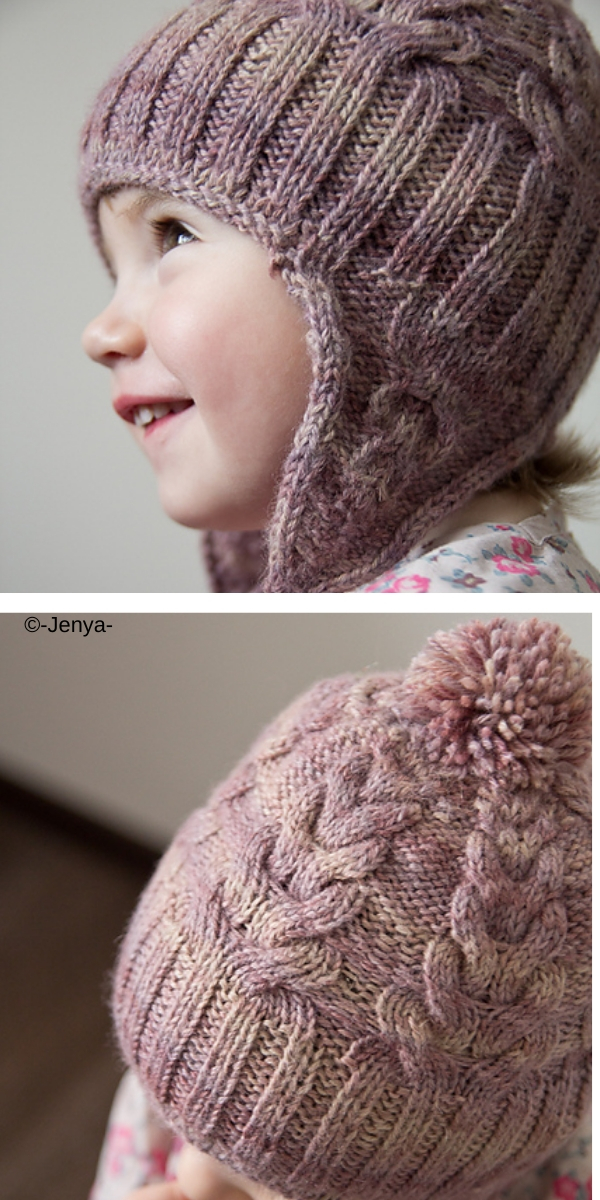 Girl with pink winter knitted hat