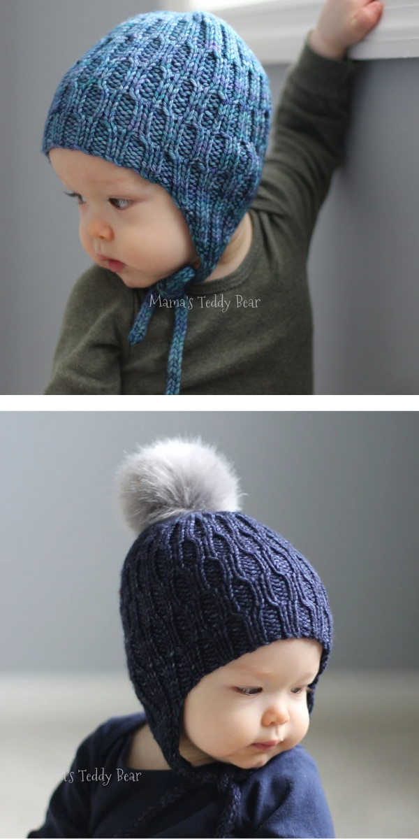 Baby boy with blue knitted Hat