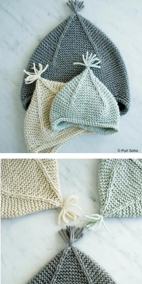 Earflap Baby Hats Free Knitting Patterns