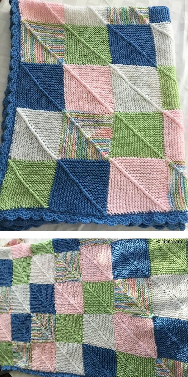 Mitered Square Blanket Tutorial free knitting pattern
