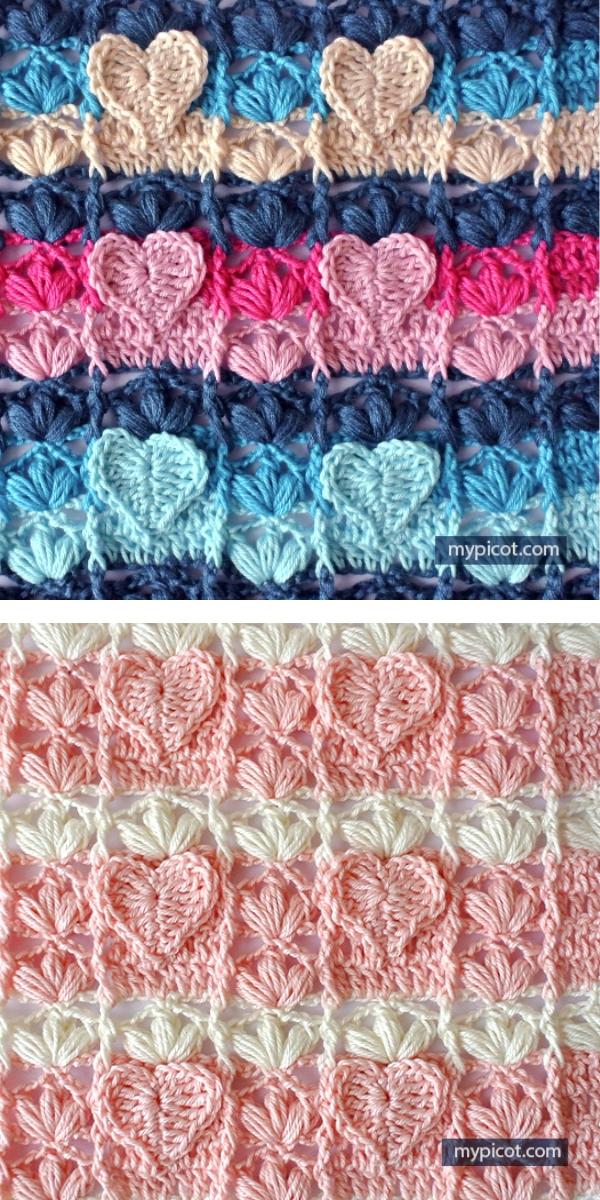 Crochet Heart Stitch free crochet pattern