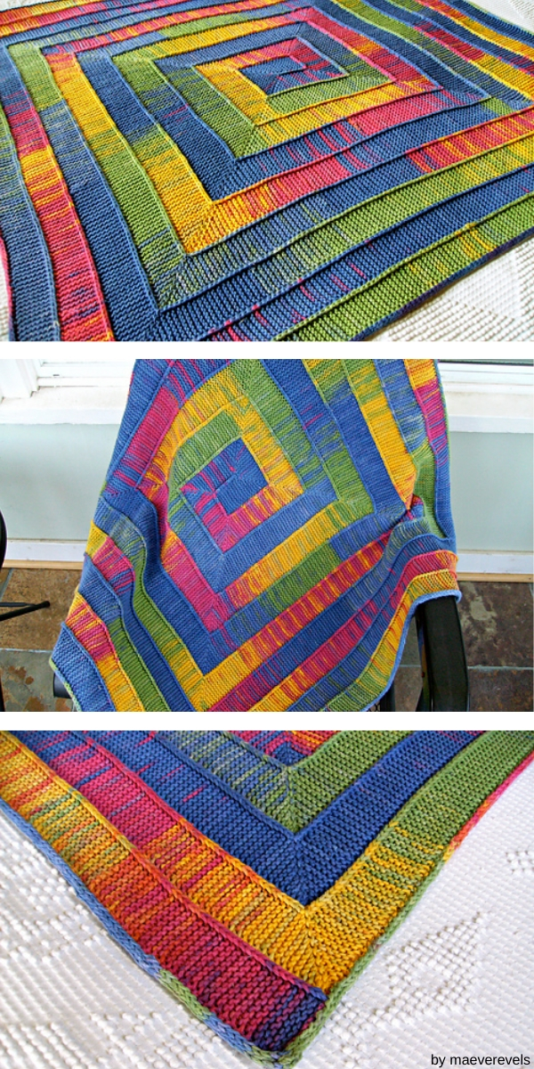 Three squares with colorful blanket