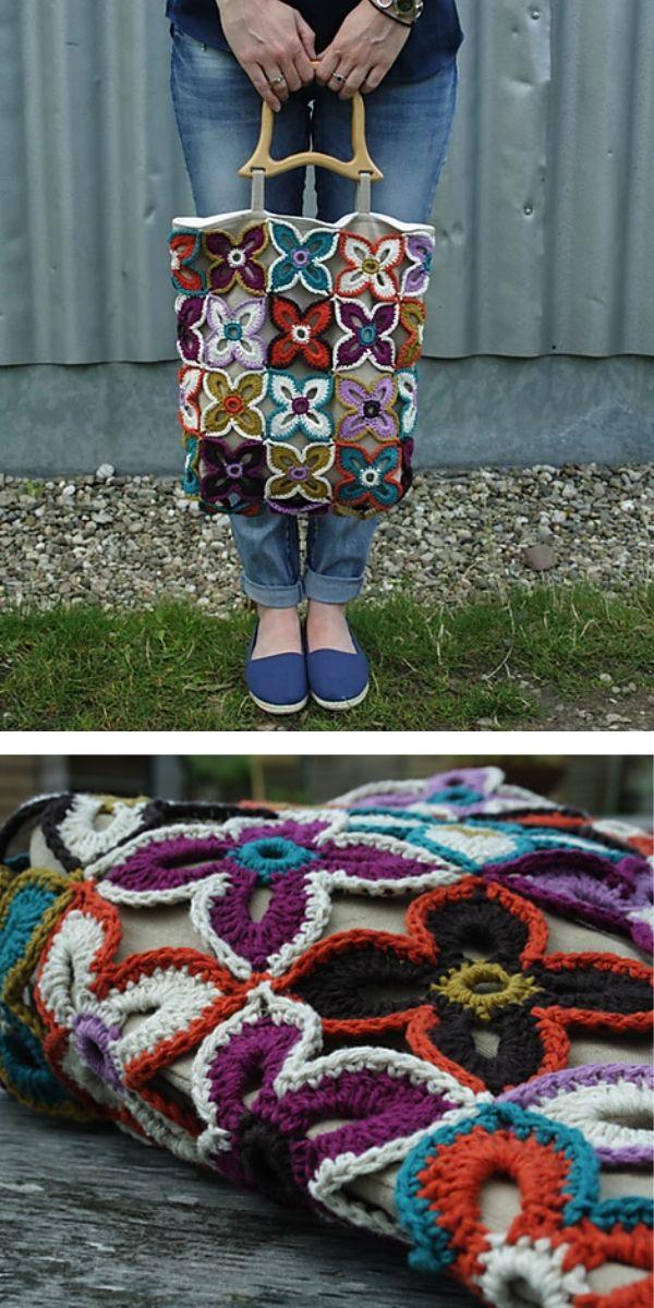 free crochet pattern: Peacock Tail Bags