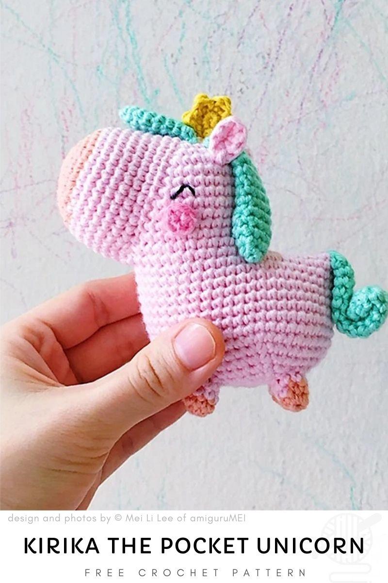 free pattern: Kirika the pocket unicorn  amigurumi