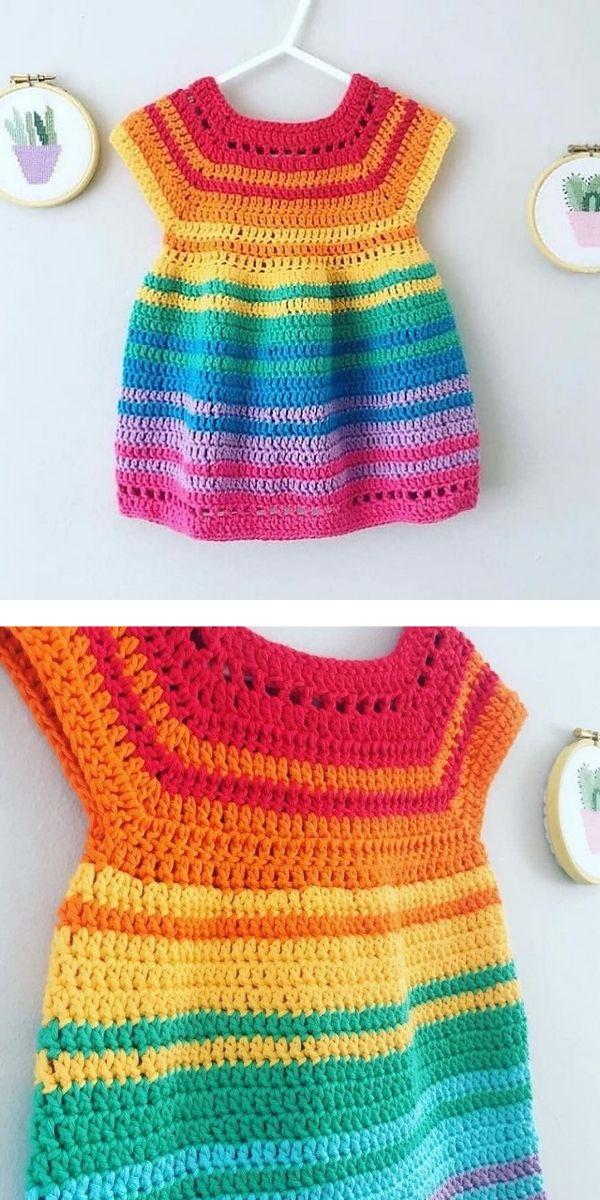 free crochet pattern: Colorful Baby Dresses