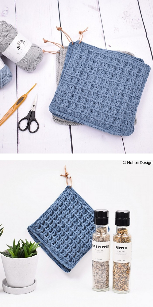 Potfolder in waffle pattern free crochet pattern