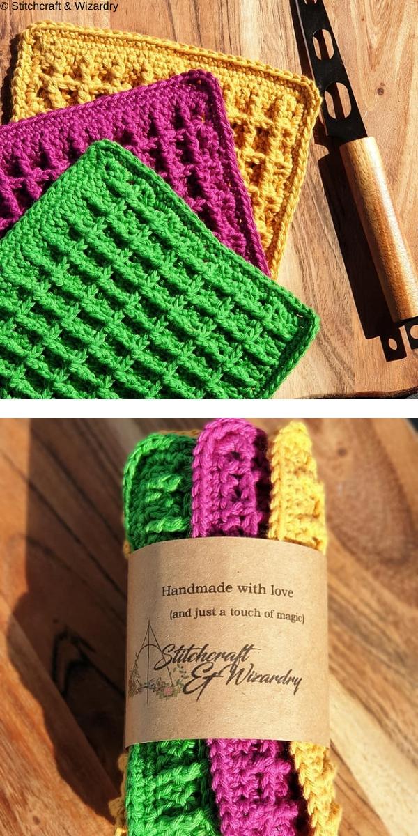 Waffle stitch dishcloth free crochet pattern