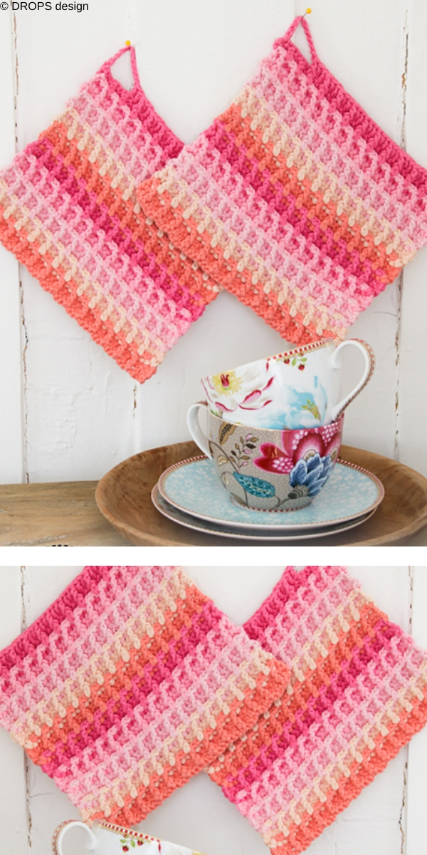 Waffle rainbow free crochet pattern