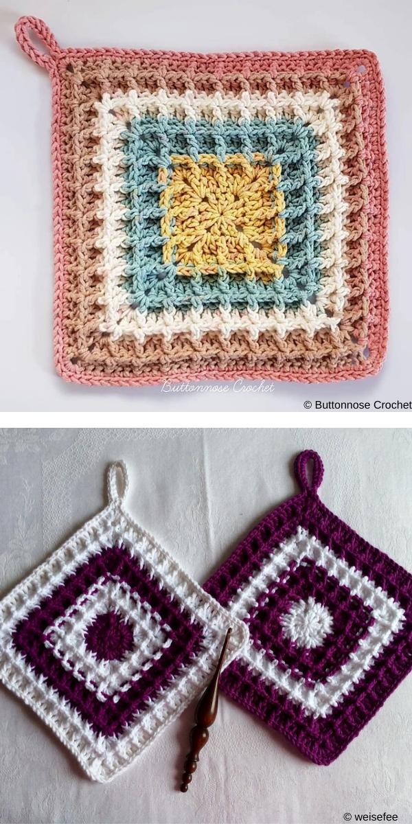 Squared waffle free crochet pattern