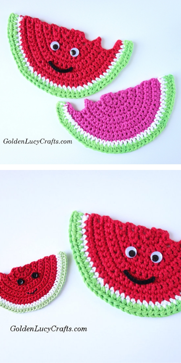 Watermelon Applique or Coaster Free Crochet Pattern