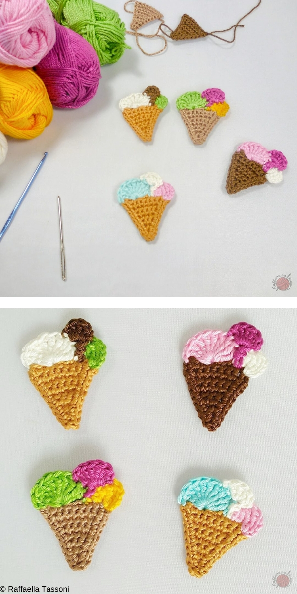 Ice Cream Cone Applique Free Crochet Pattern