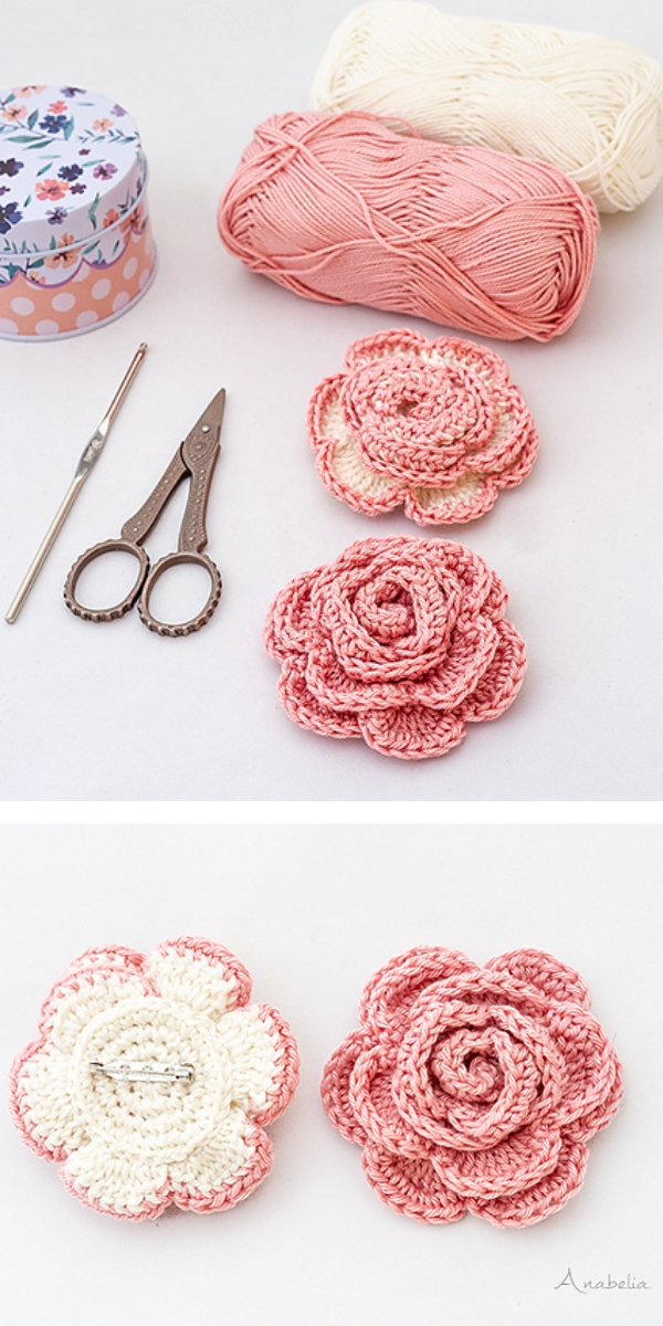Romantic Rose Brooch Free Crochet Pattern