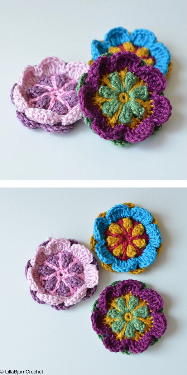 Overlay Flower Brooch Free Crochet Pattern