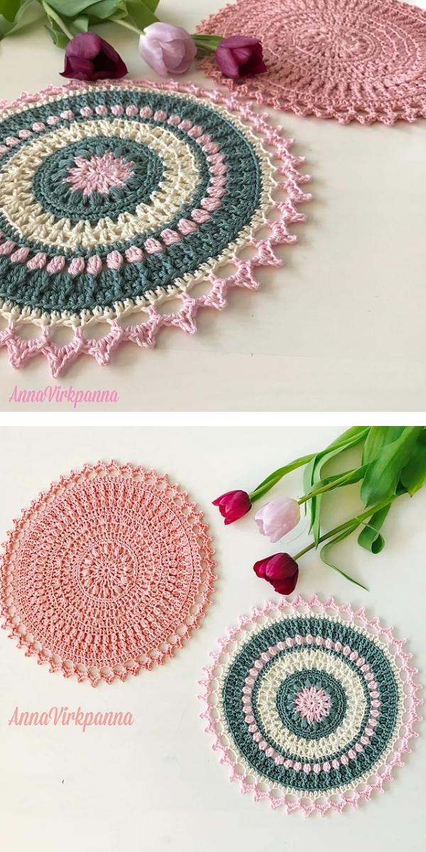 winter rose mandala Free Crochet Pattern