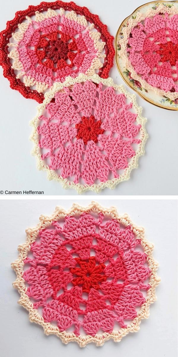 Vintage Heart Coaster free crochet pattern