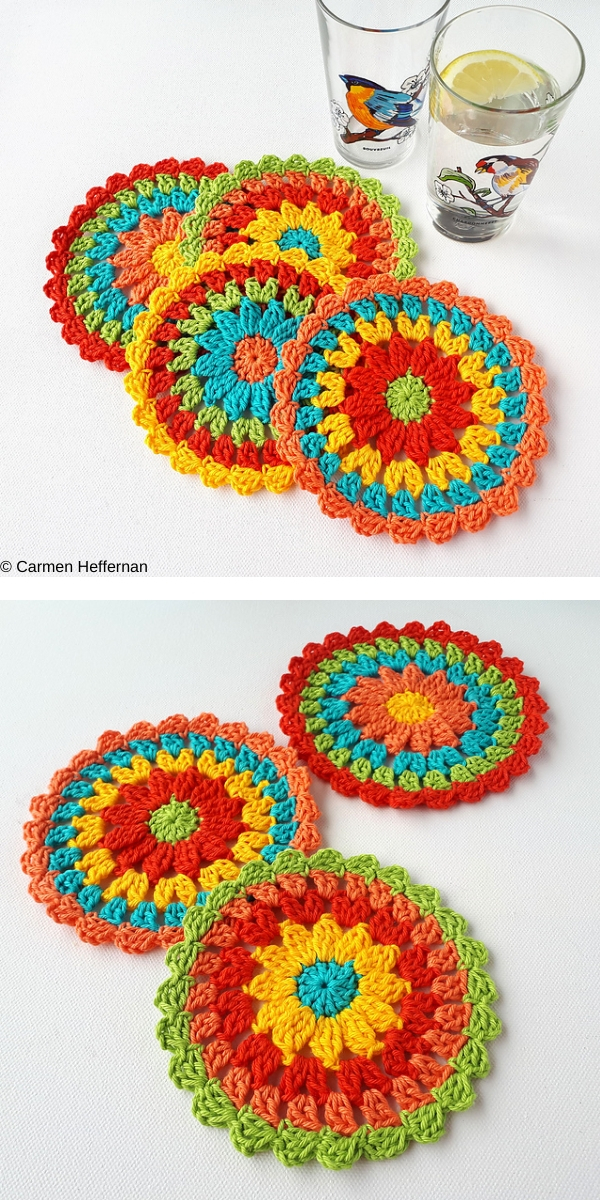 Zesty Coasters free crochet pattern