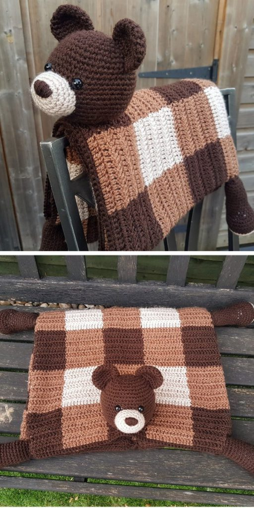 3 em 1 Woodland Bear dobrável manta de bebê crochê padrão