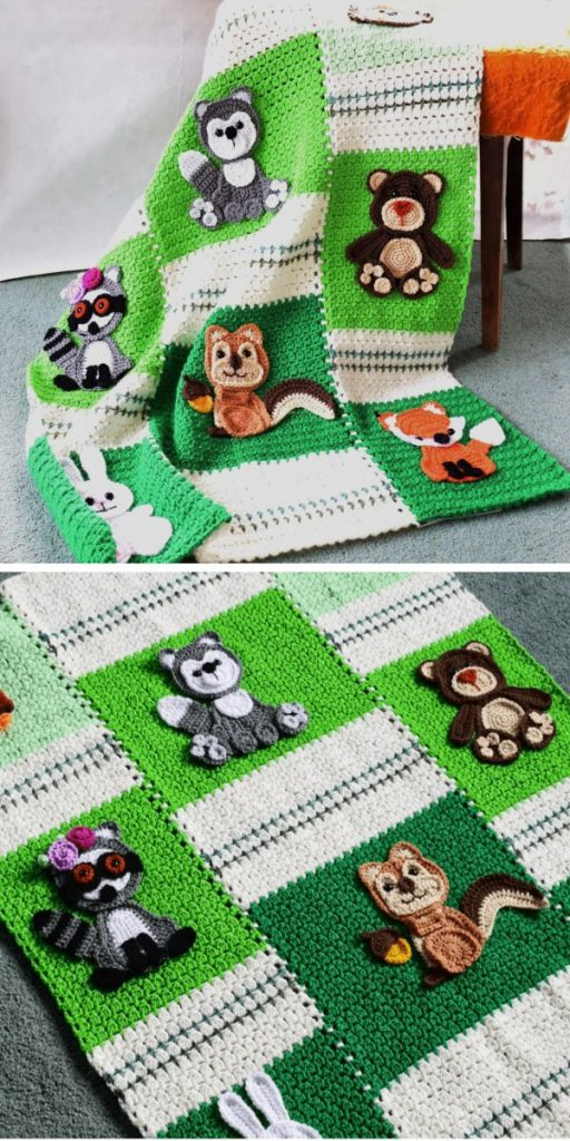 Forest Friends Baby Blanket Free Crochet Pattern