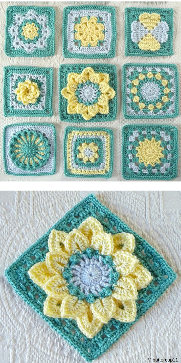 Green and yellow Forever Lace Crochet Block Free Crochet Pattern