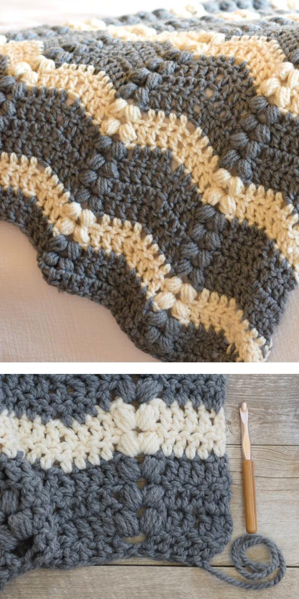 free crochet pattern: Pretty Ripple Blanket