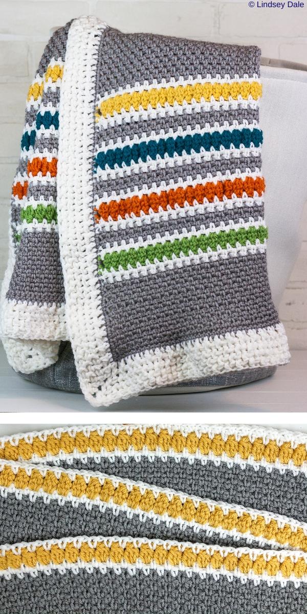 Modern Stripes Throw Blanket Free Crochet Pattern