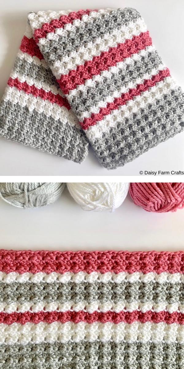 Crochet Sedge Stripes Baby Blanket Free Crochet Pattern