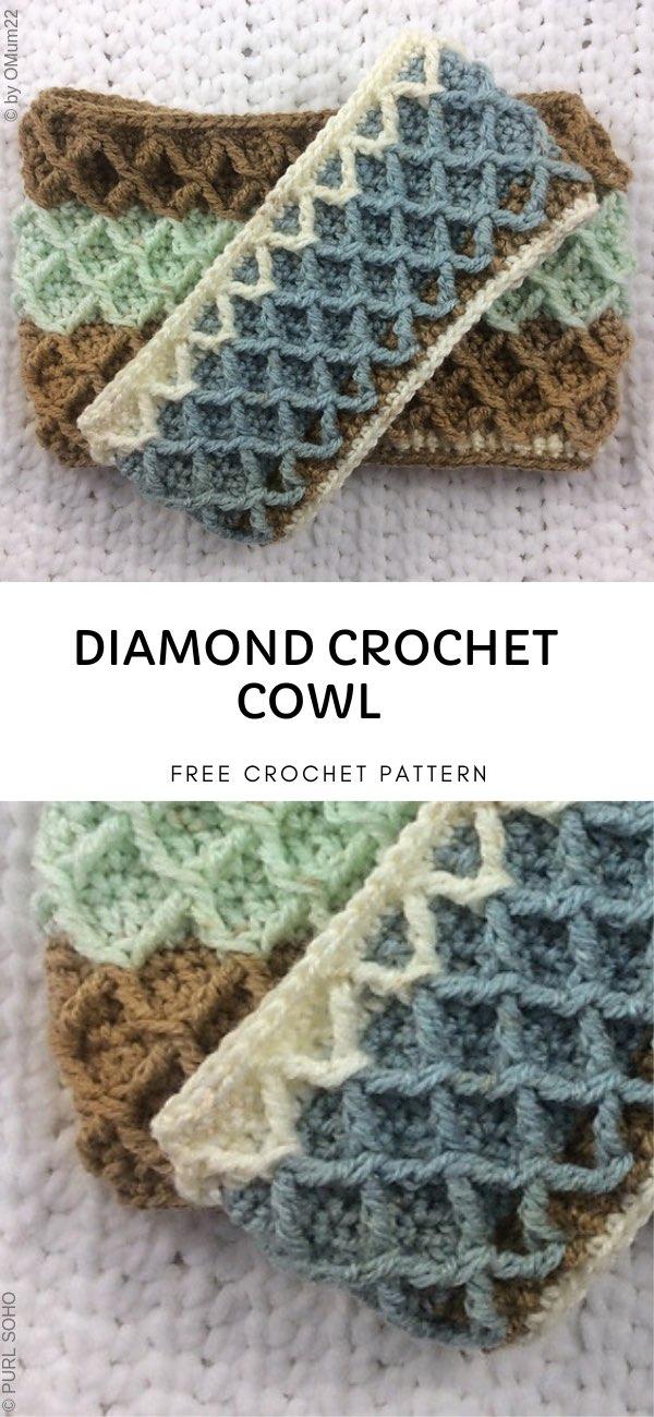 Diamond Crochet Cowl Free Pattern the best realization