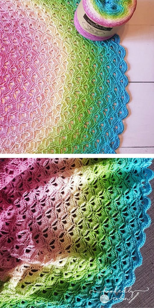Lotus Flower Blanket - free crochet circle blanket pattern