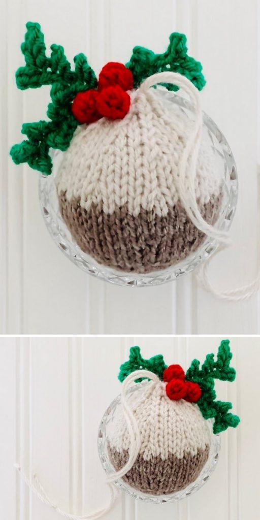 Christmas Pudding Bauble Free Knitting Pattern