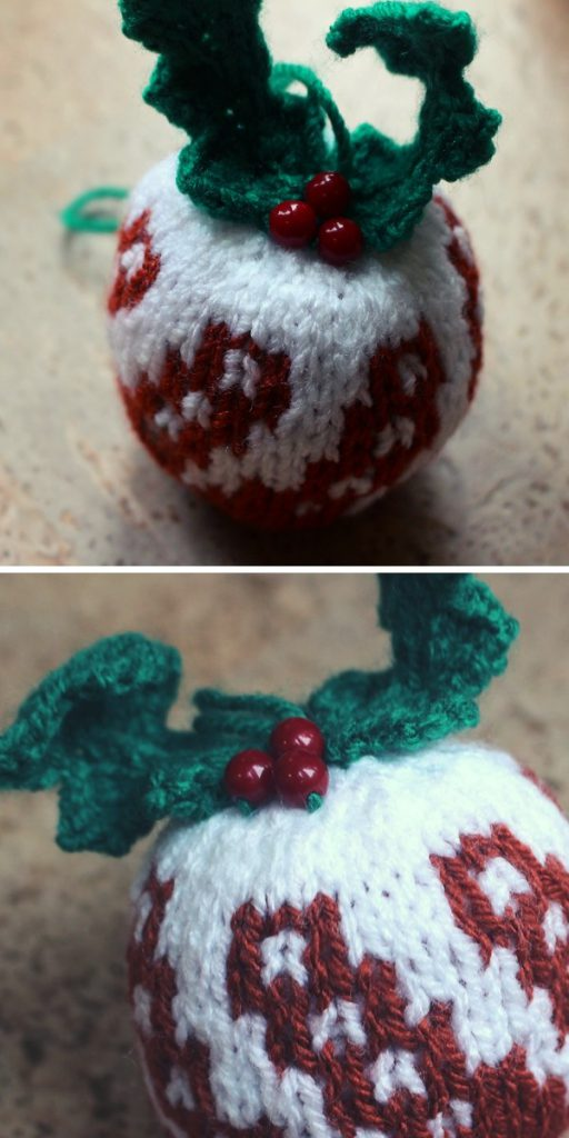 Christmas Pudding Bauble Knitting Pattern