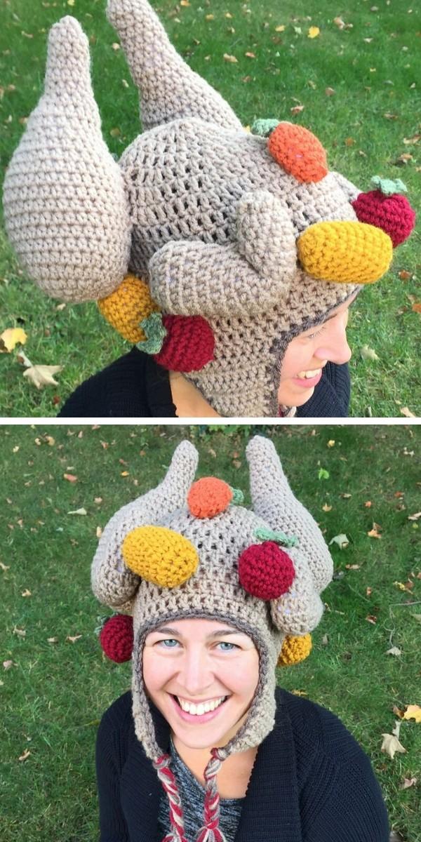 Padrão de crochê grátis para chapéu de peru cozido