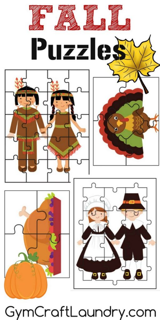 Fall and Thanksgiving Puzzle Printable Craft Project
