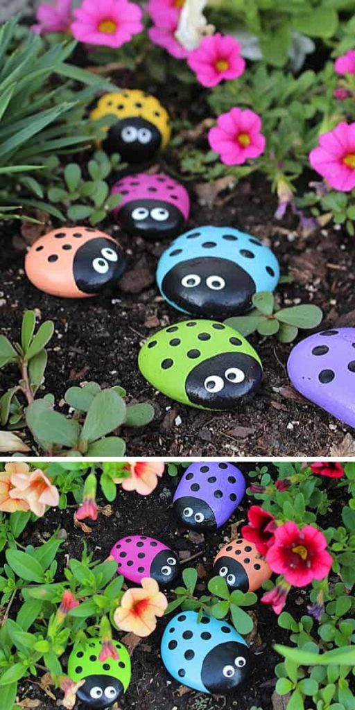 Ladybug Painted Rocks Easy Craft Project