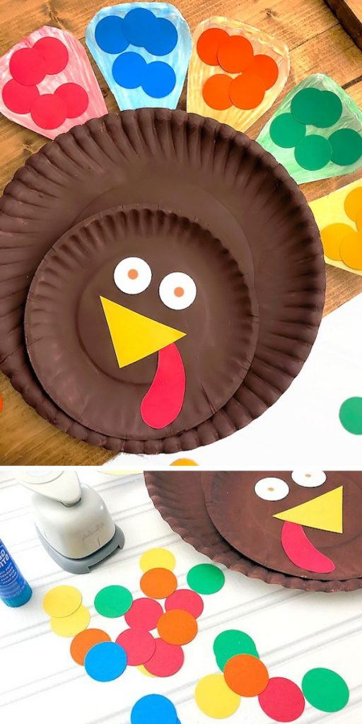 Matching Colors Paper Plate Turkey Easy Craft Project