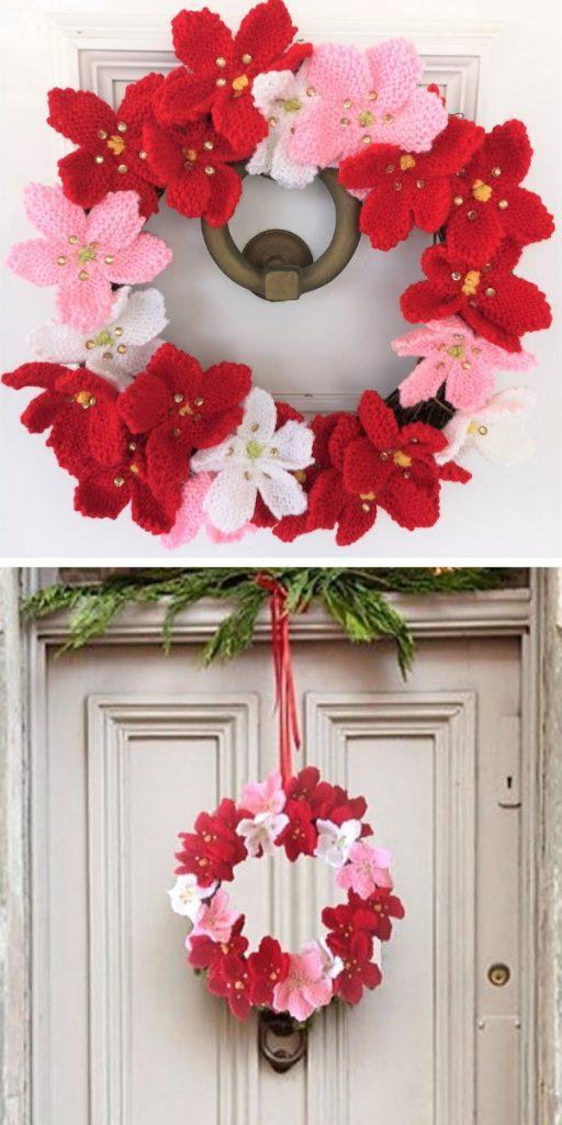 Poinsettia Christmas Ring Knitting Pattern