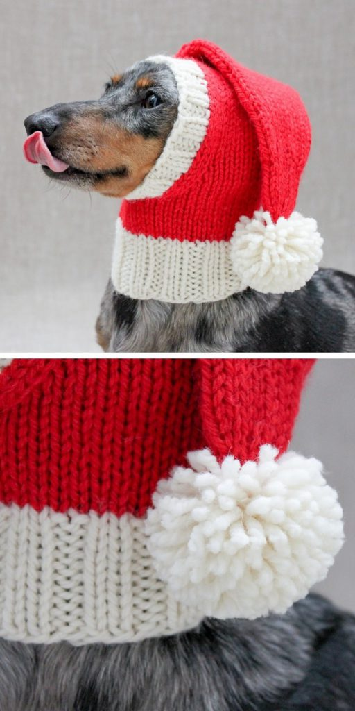 Santa Dog Hat Knitting Pattern