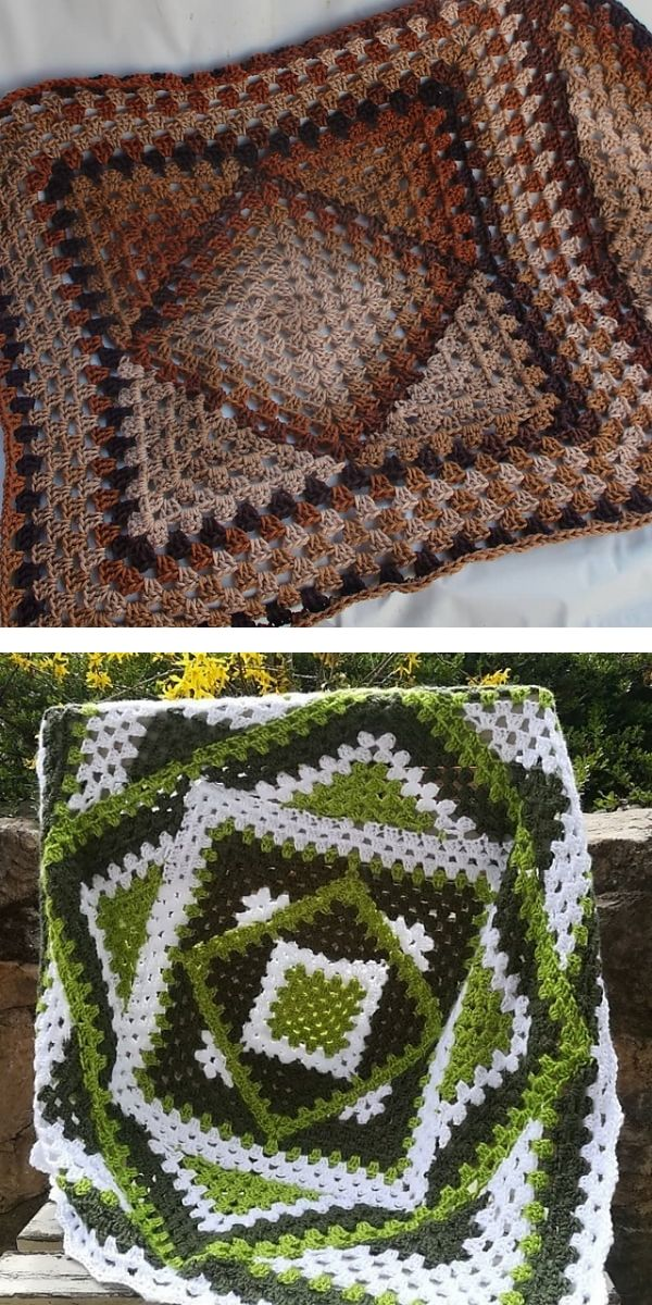free crochet pattern: Squared Diamond Granny Throw shadows