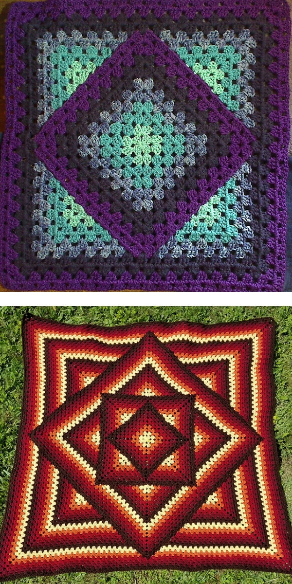 free crochet pattern: Squared Diamond Granny Throw Vivid