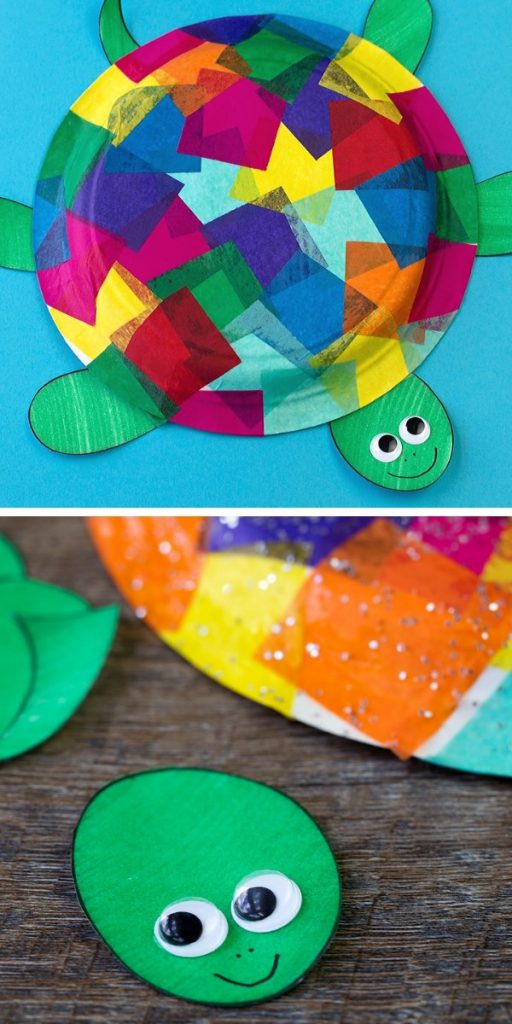 Tissue Paper and Paper Plate Turtle Craft Project