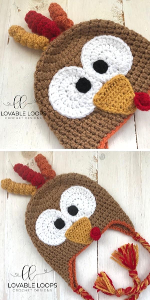 Padrão de crochê grátis para chapéu de peru