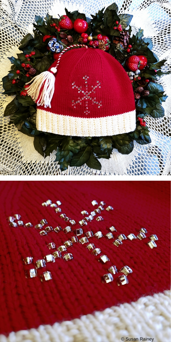 Santa Hat Red Hat with Snowflake