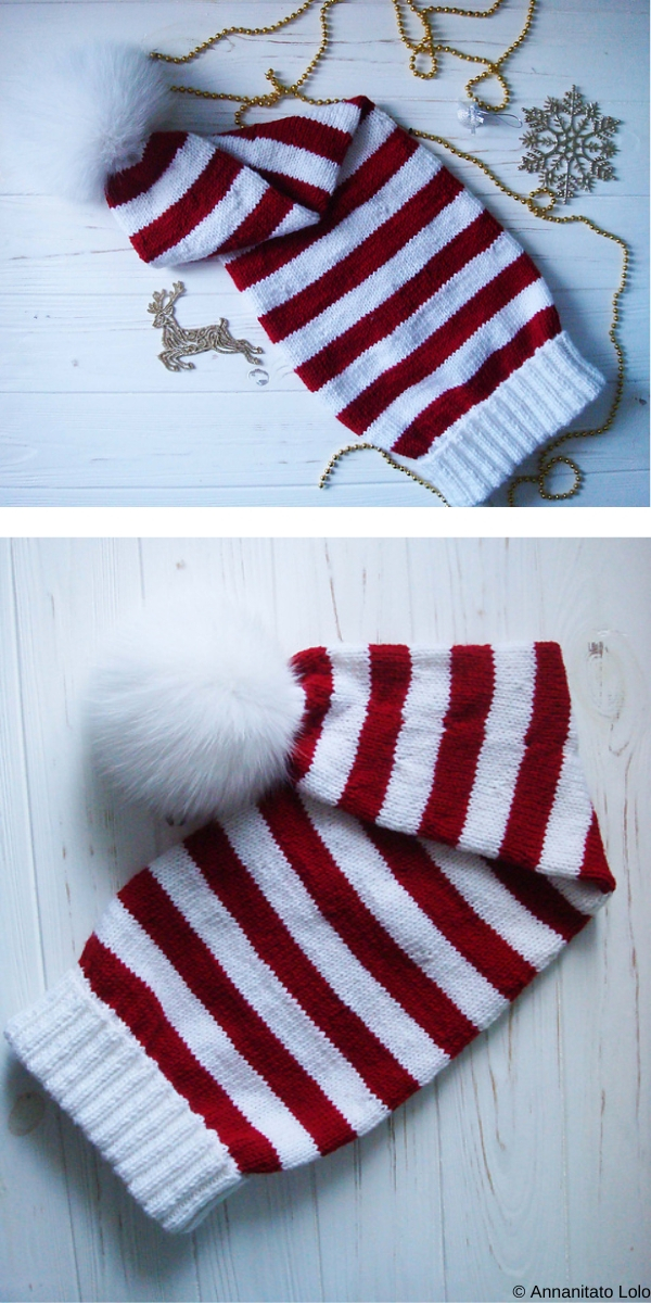 Stripped Long White and Red Hat