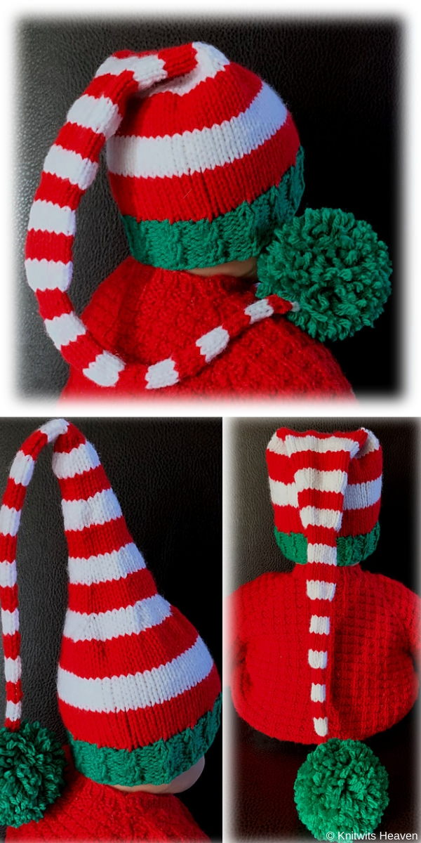 Elf Hat Stripped aHat with Pompon