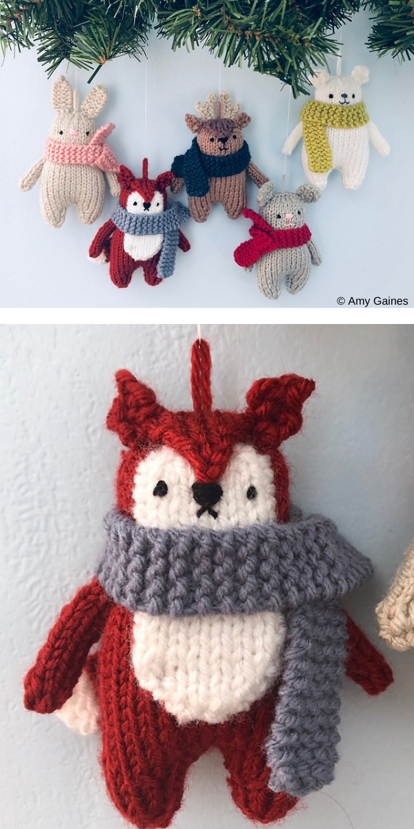 Five cute Knitting Animals plush toy for Christmas